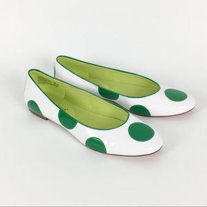 Alice + Olivia Green White Polka Dot Flats Size 11